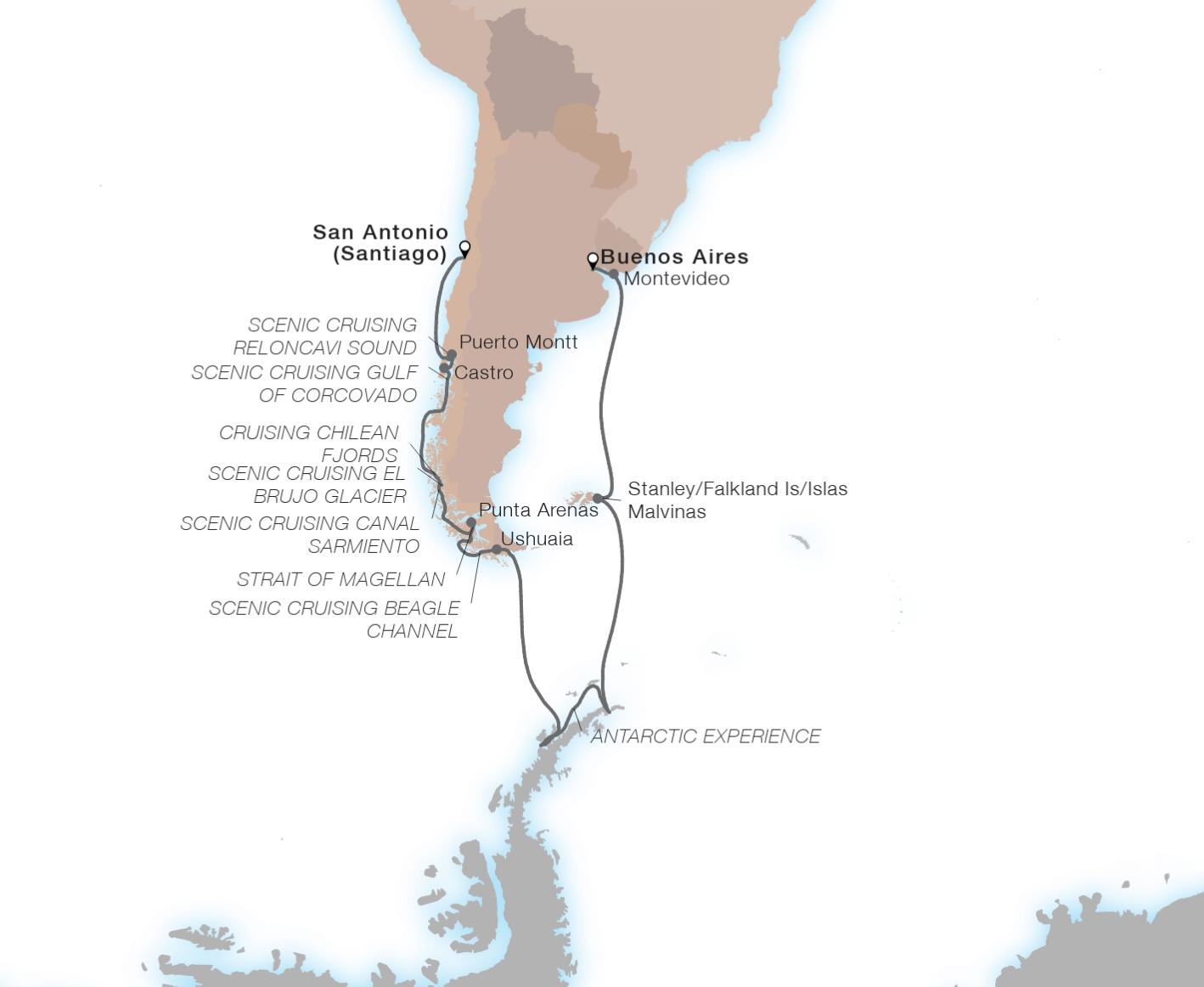 21-Day Ultimate Antarctica & Patagonia - SEABOURN QUESTSan Antonio (Santiago), Chile to Buenos Aires, Argentia