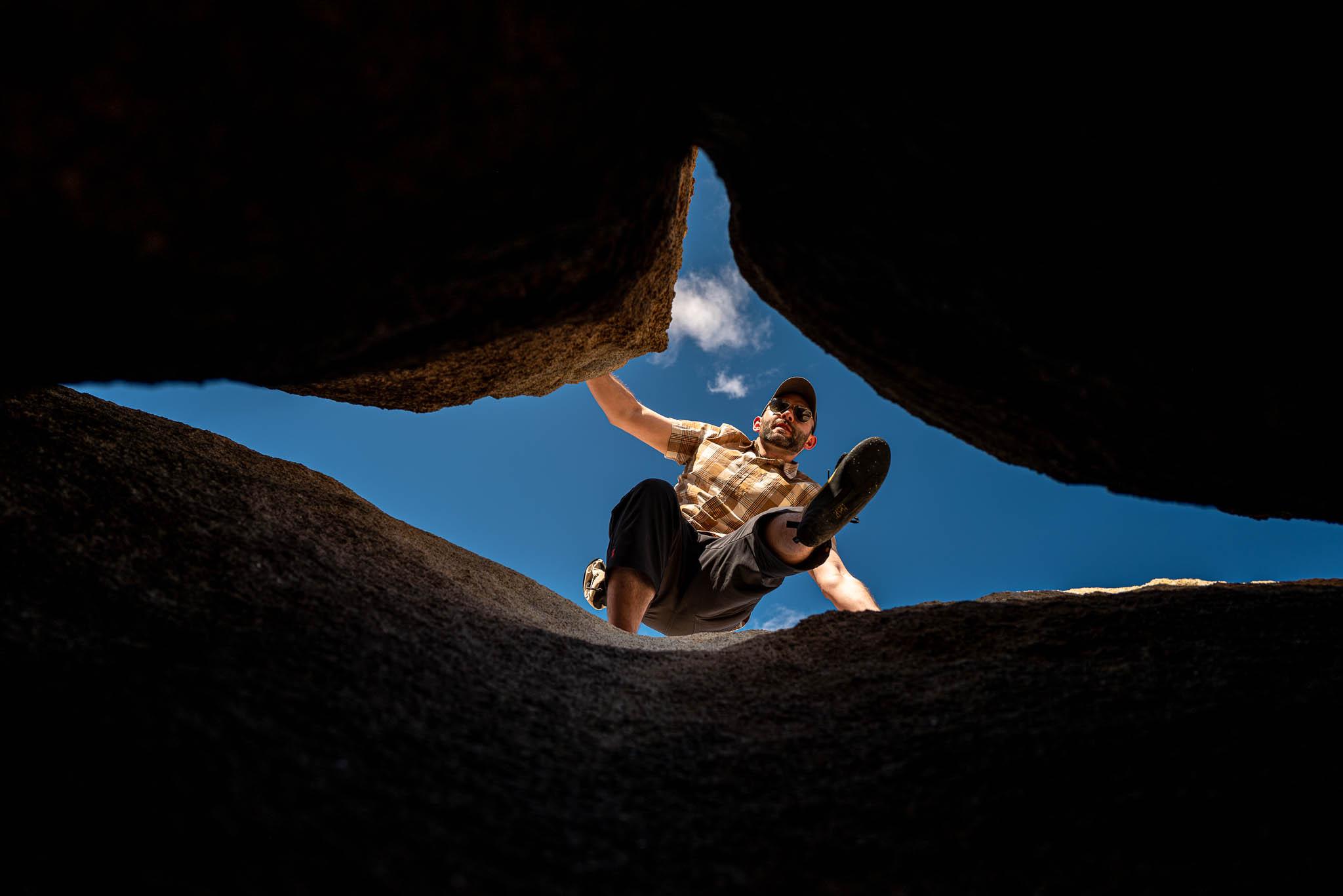 Rock climber scrambling