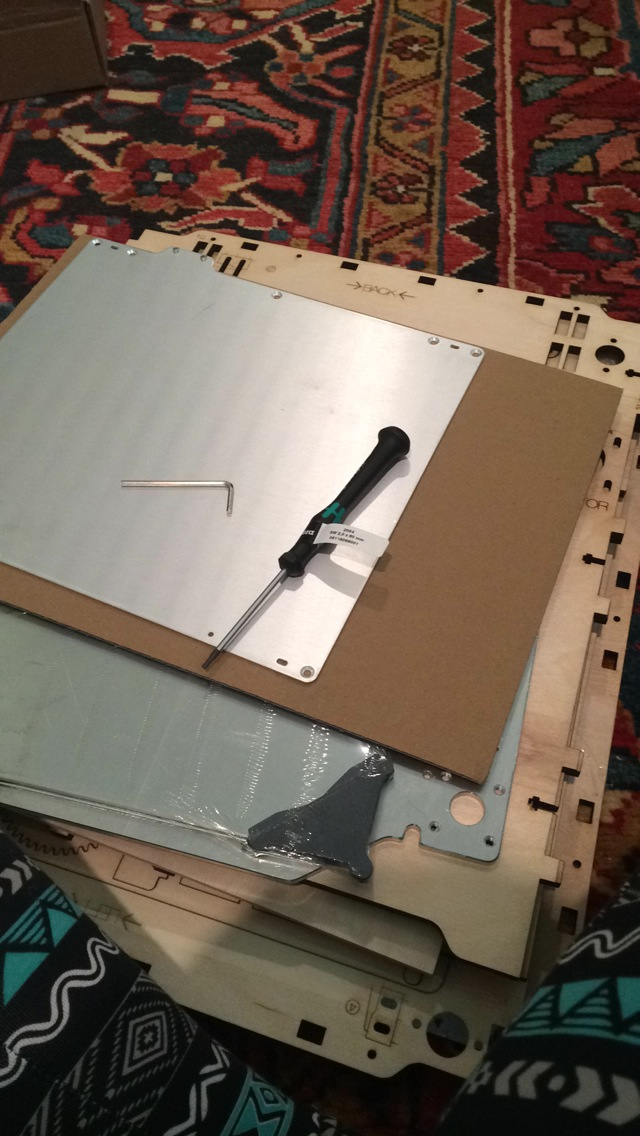 These are the panels for the frame and some parts for the heated bed. We were given one screwdriver and one Allen wrench.
