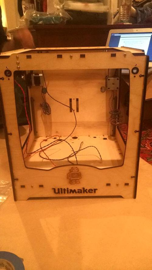 The front of the printer once the ball bearings, X and Y motors, limit switches, and panels were attached.