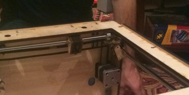 The back right corner after putting the axes in andattaching the belts.