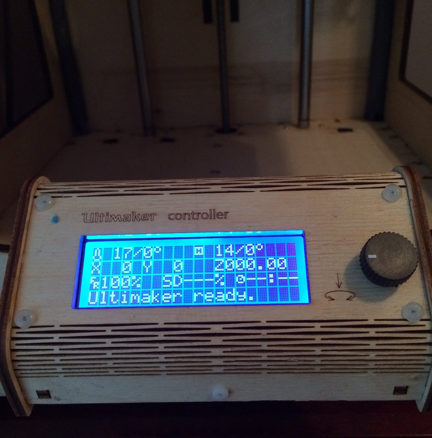 The front of the printer after the build was complete!
