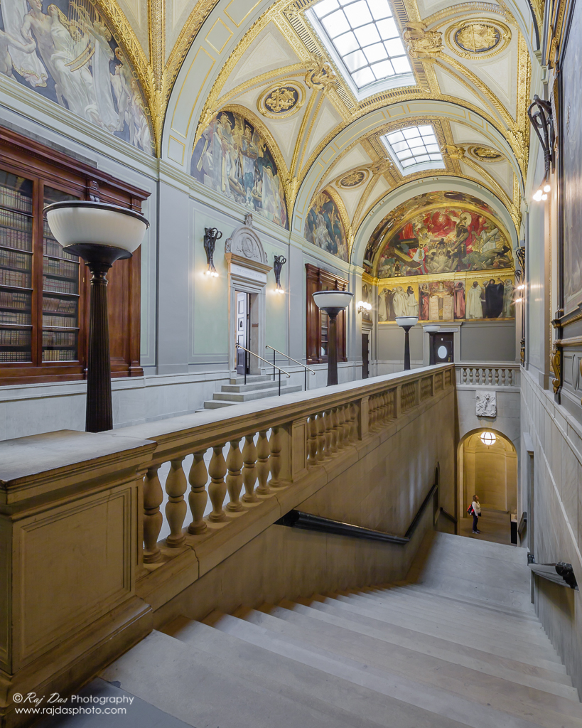 Sargent Gallery is named for the great American painter John Singer Sargent, who spent years decorating its walls with his powerful and original mural sequence,  Triumph of Religion .