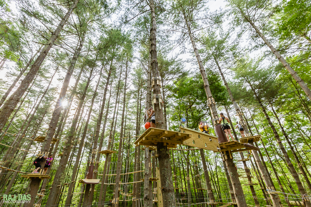 The TreeTop Adventures Park has three layers of courses of different heights and difficulty levels