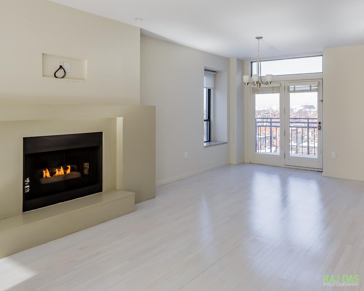 Living room of the 755 Boylston Street property