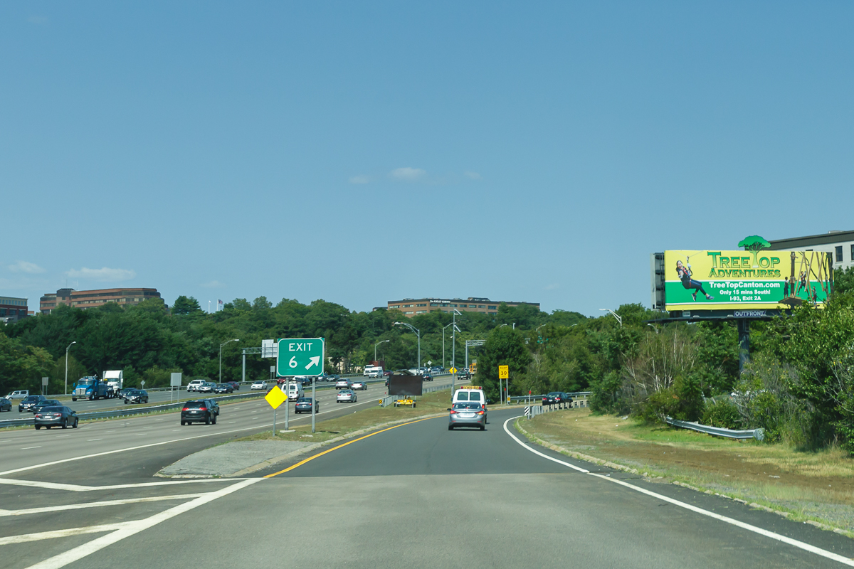 View of the billboard while driving on I-93N Exit 6 in Braintree, MA