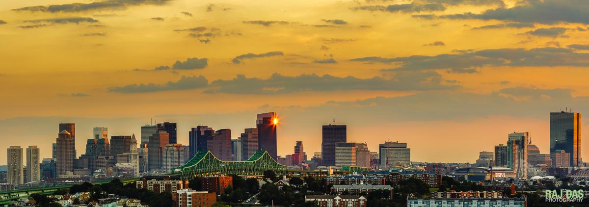 Tobin Bridge and skyline at sunset, Boston