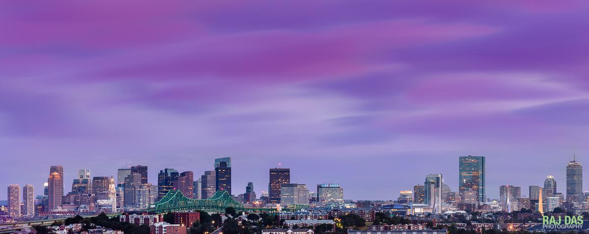 Tobin Bridge and skyline, Boston