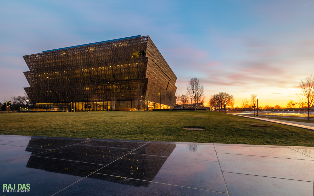 View of the Museum as the sun sets over the National Mall