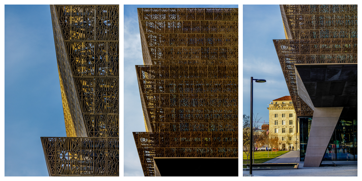 Details of the bronze colored corona panels that give the Museum its distinctive shape