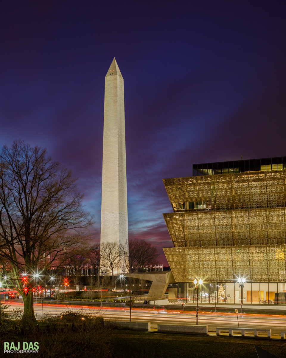 View of the Washington Monument and the Museum with the evening traffic on 14th Street