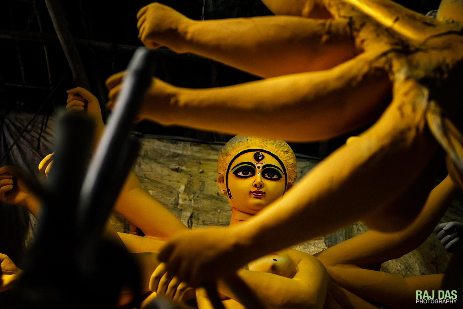 A partially completed Durga idol in a studio in one of the alleyways of Kumartulli