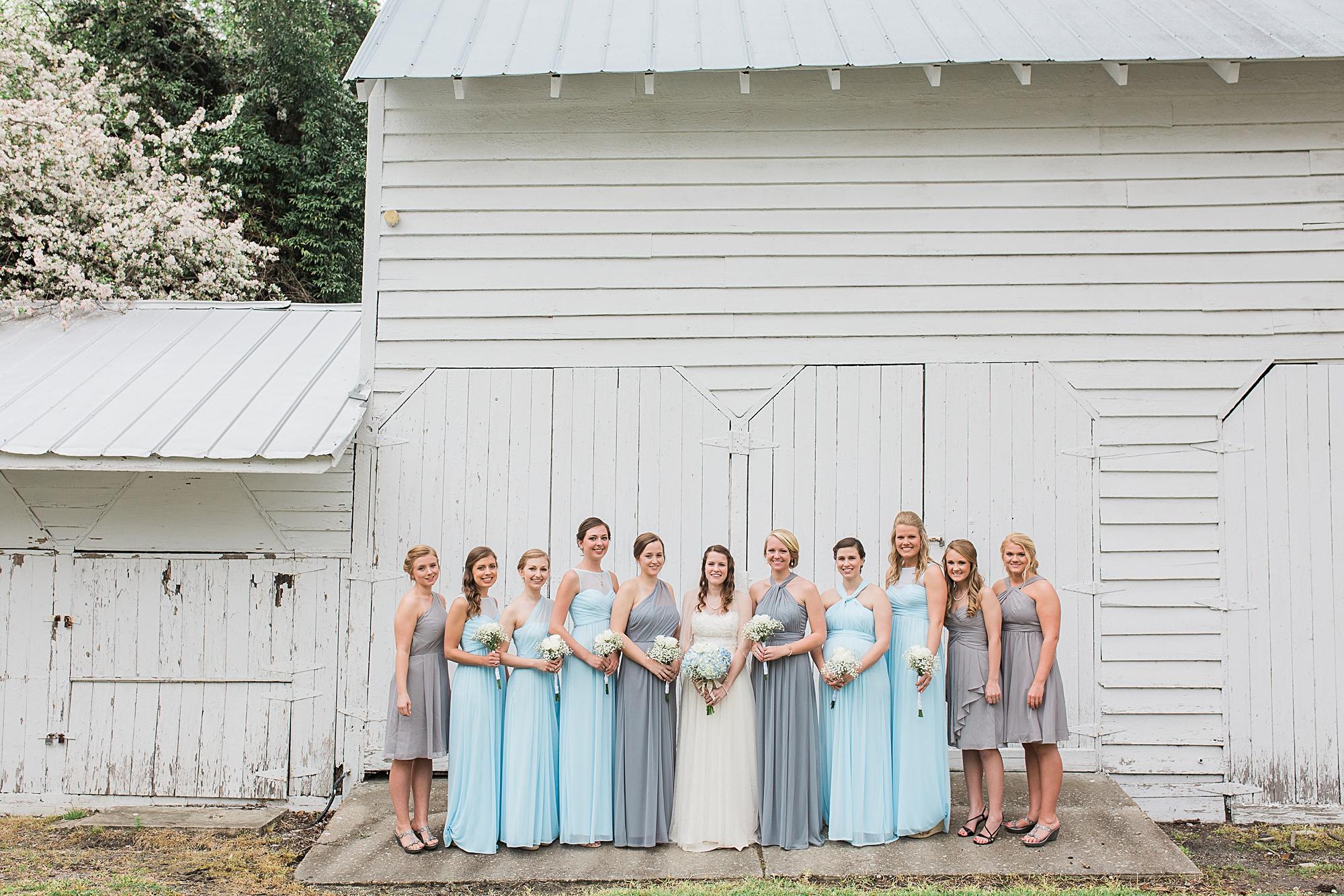 Blue and grey bridesmaid dresses