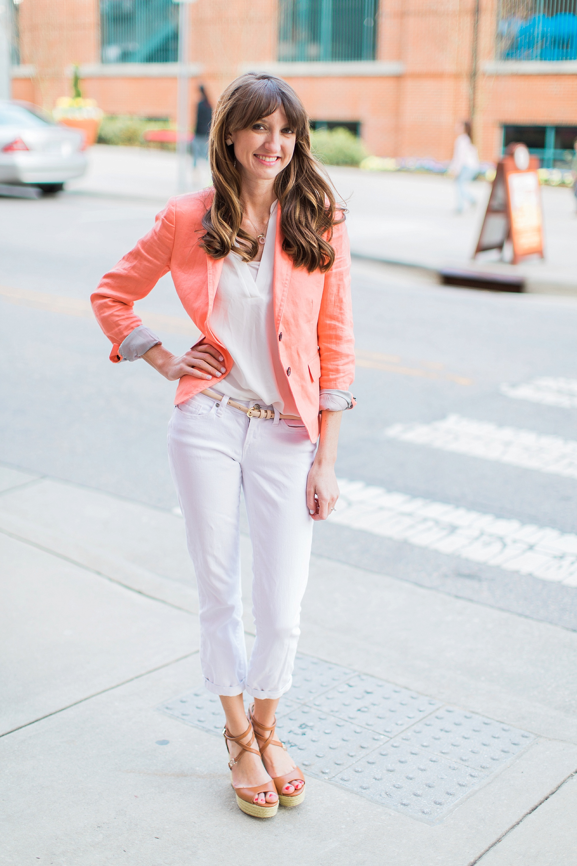 """Blazer: J Crew Factory (Similar   here   and   here  ); Tunic: Lush (  Same  in """"ivory""""); Jeans: Gap (  Similar  ...I plan on purchasing these soon!); Shoes: Sam Edelman (  Same  and on sale!); Earrings: BP (  Similar  )"""