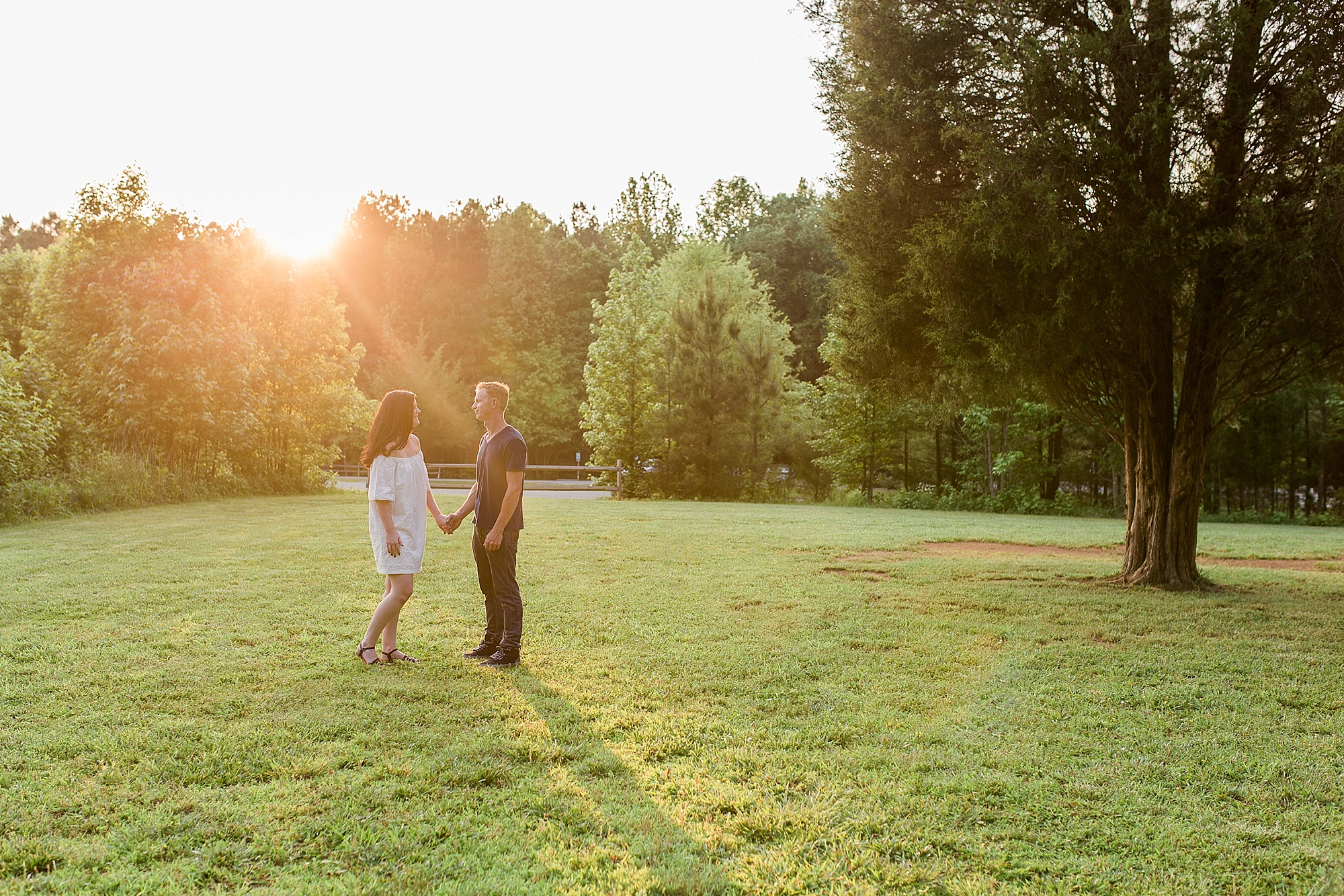 Durham NC Engagement Picture at Sunset