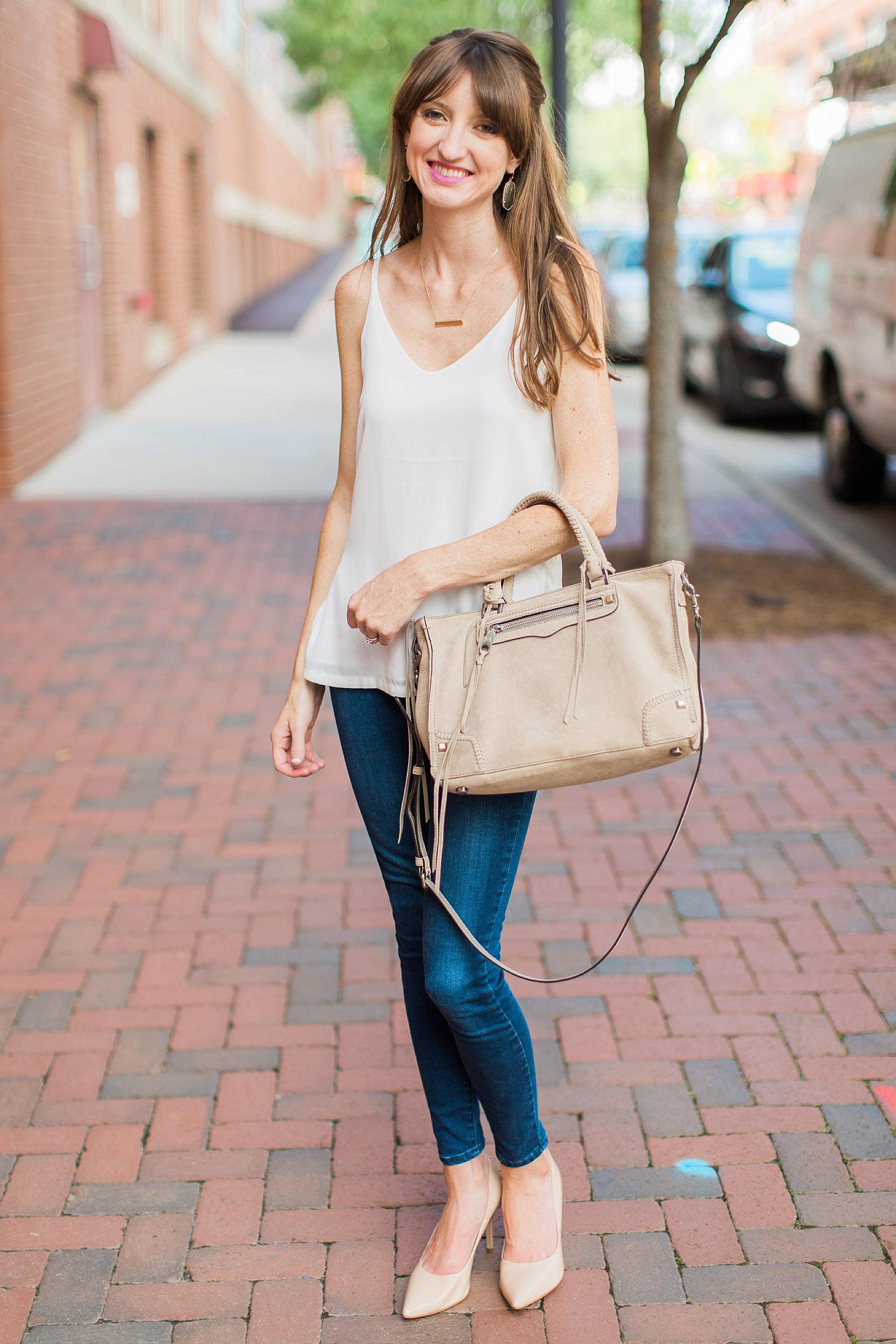 CAMI:   H&M  (also love   this one  ); JEANS:   Levi's  ; SHOES:   Steve Madden   (on sale!); EARRINGS:   Kendra Scott  ; NECKLACE:   Baublebar  ; PURSE:   Rebecca Minkoff