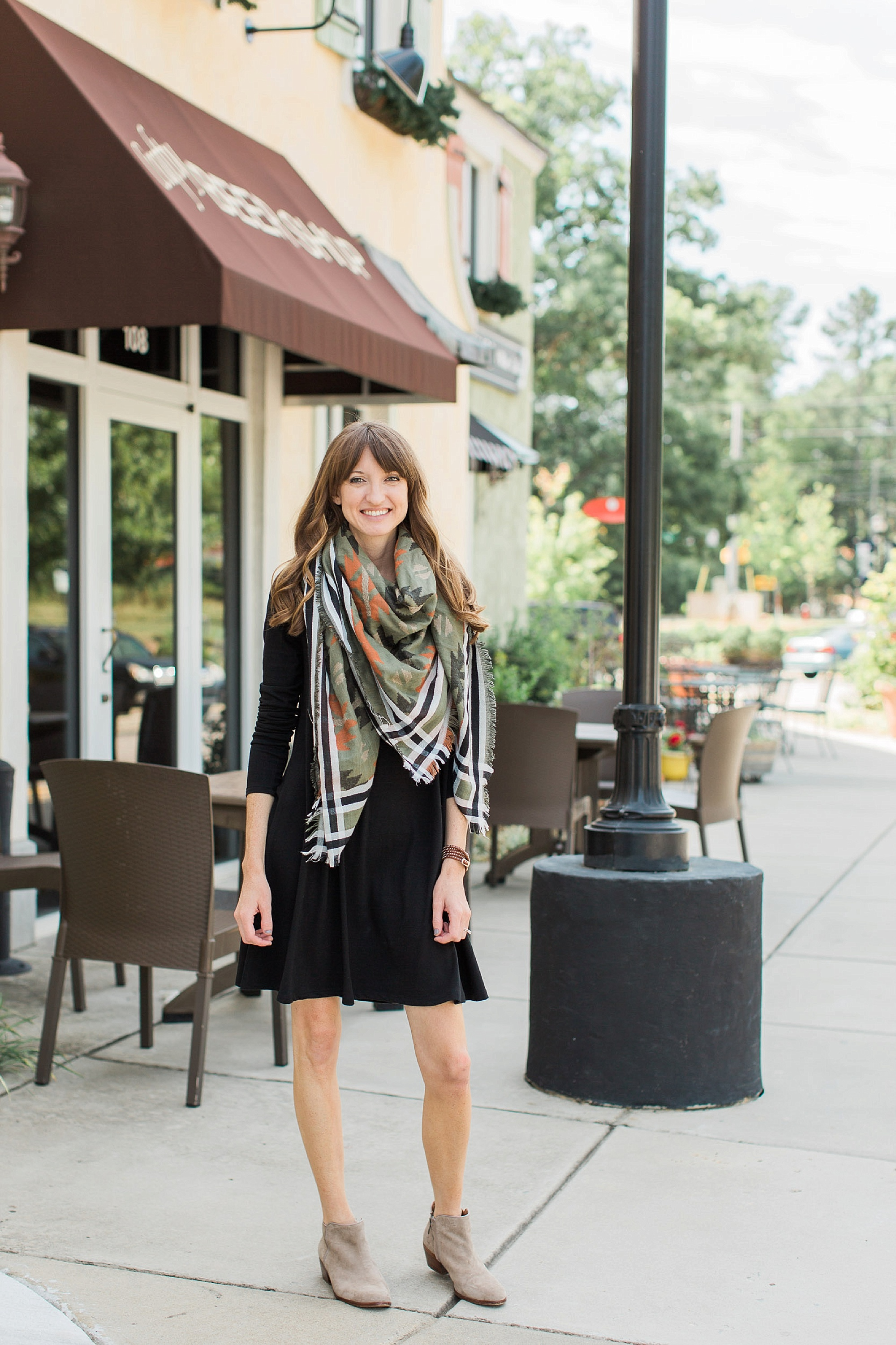 """DRESS:   Old Navy  (on sale!);SCARF:   BP . ; SHOES:   Sam   Edelman  ; NECKLACE: Entourage (similar   here   and   here  ); BRACELET: Similar   here  ; NAILS:   Essie   """"Chinchilly"""""""
