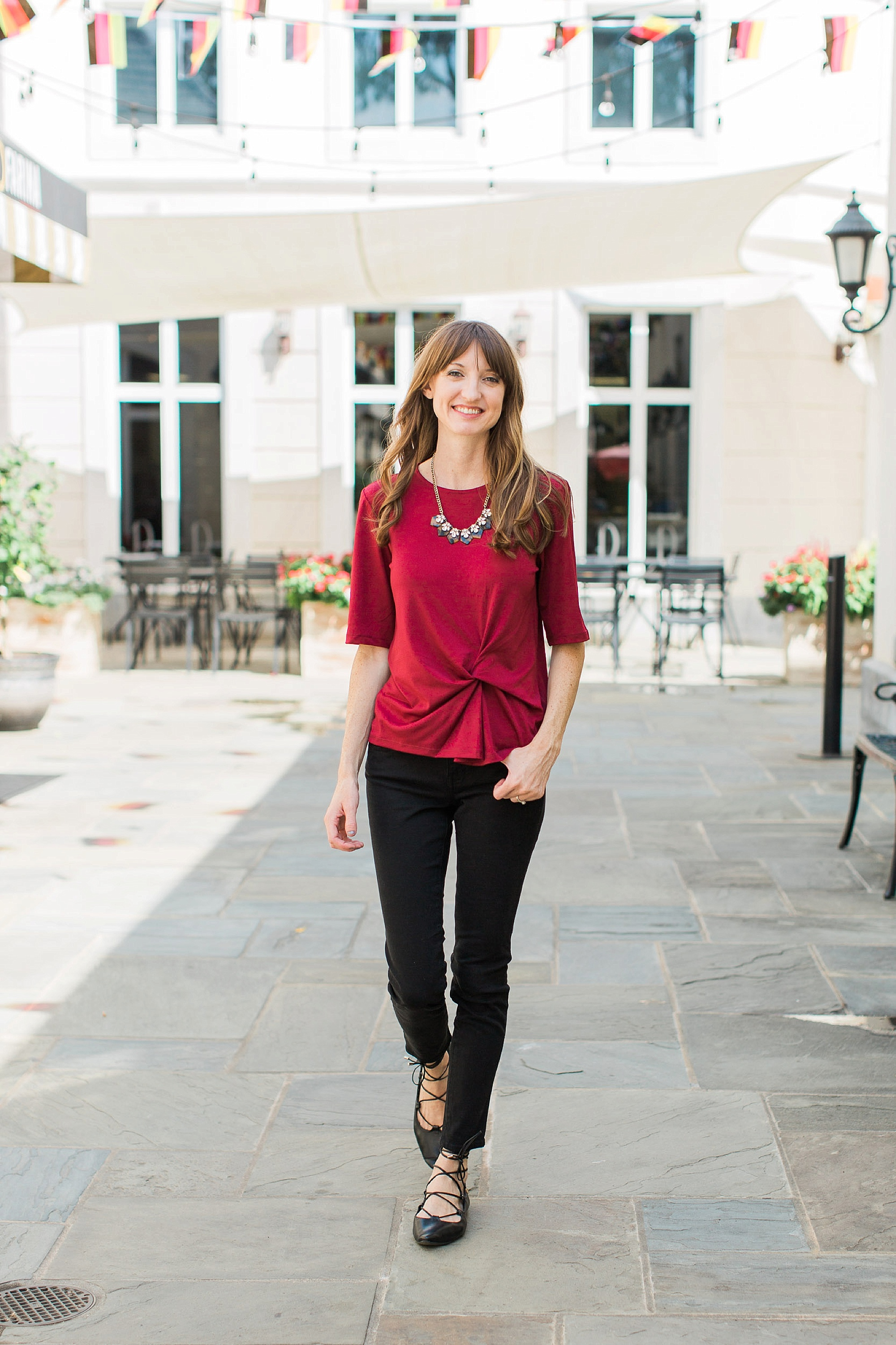 """TOP: Topshop (similar   here  ,   here  , and   here  ); JEANS:   Madewell  ; SHOES:   Old Navy  (on sale for under $20!); NECKLACE:   J Crew   (on sale!); LIPS:  MAC Lip Pencil  in """"Whirl"""" and  MAC Lipstick  in """"Twig"""""""