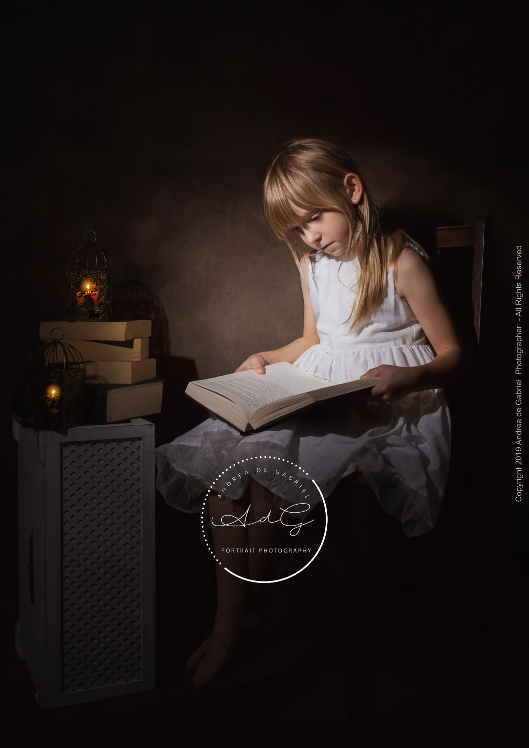 I WANTED TO LEAVE THIS ONE IN COLOUR FOR A MORE ANTIQUE LOOK AND TO CAPTURE THE GLOWING CANDLES AND THE BOOK COLOURS…