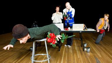 Let us think of these things always. Let us speak of them never, performance by Every house has a door, 2009 (directed by Lin Hixson), pictured left to right: Matthew Goulish, Selma Banich, Mislav Cavajda, Stephen Fiehn; photo courtesy John Sisson