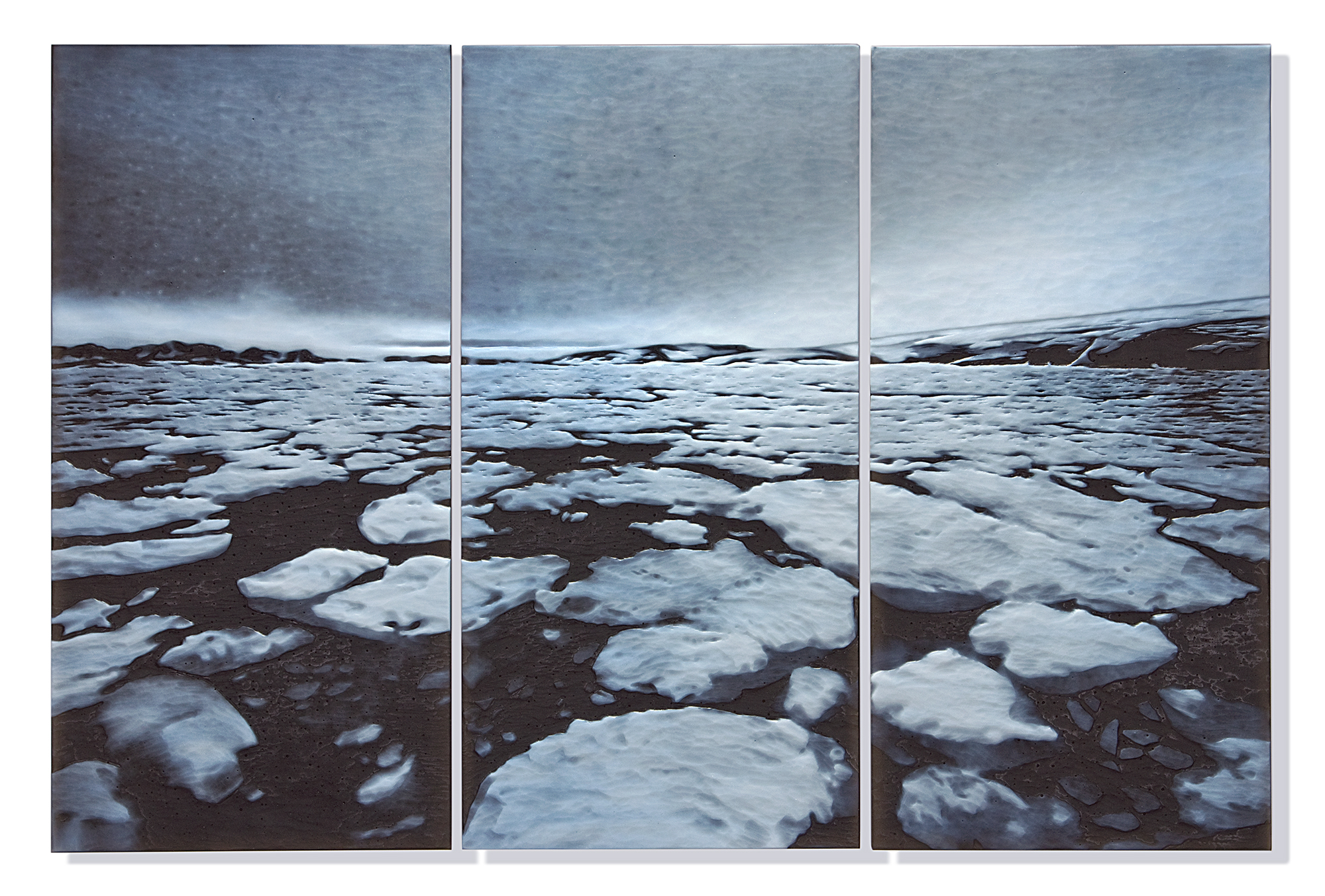 """""""Sea Ice Moves In Spring"""". Cameo engraved glass, 2015."""