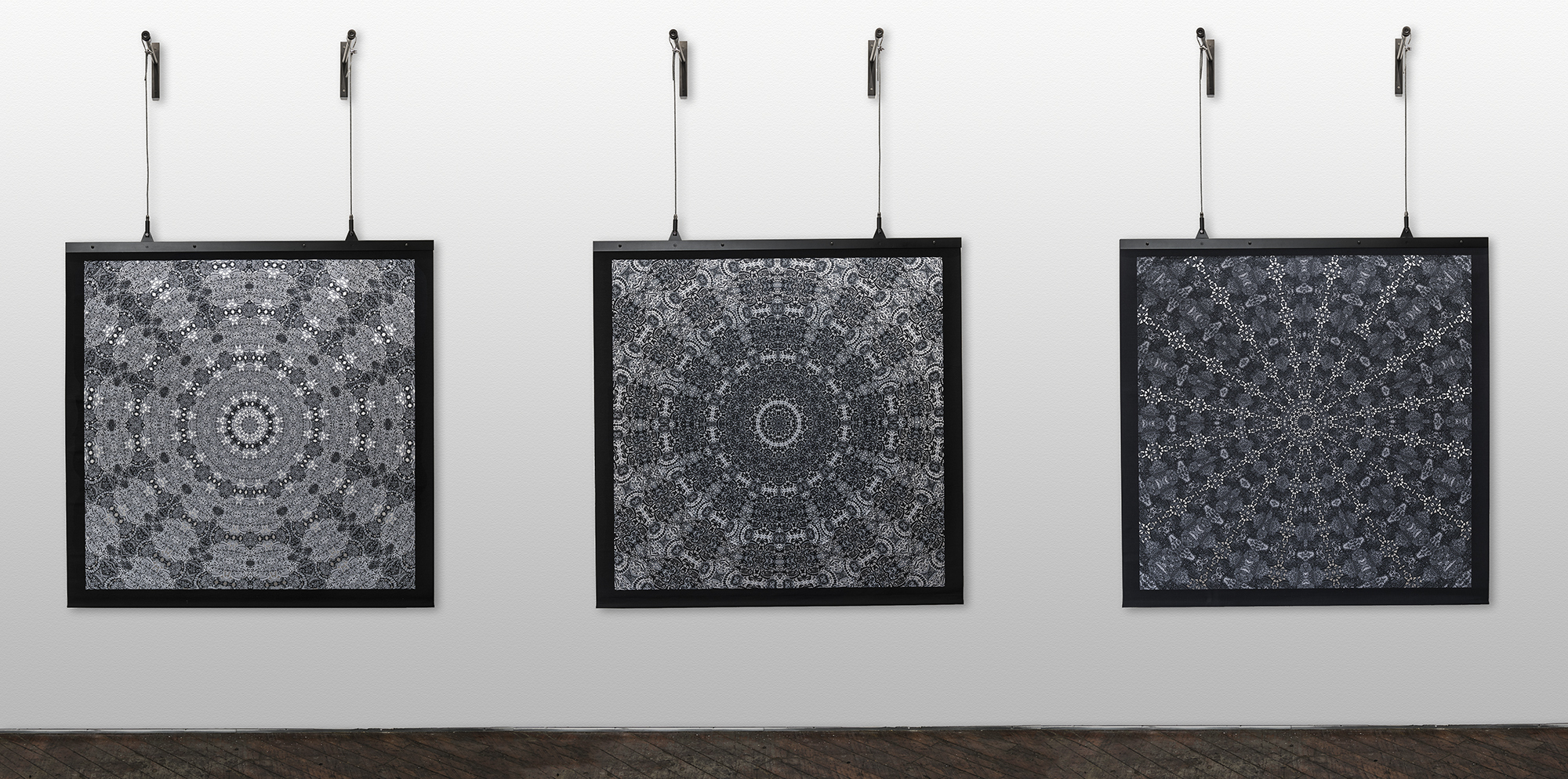 """""""Radials 1, 2, and 3"""", 2014. Hand-cut and digitally printed cotton, aluminum armature, steel cable. Photo by Dan Meyers."""