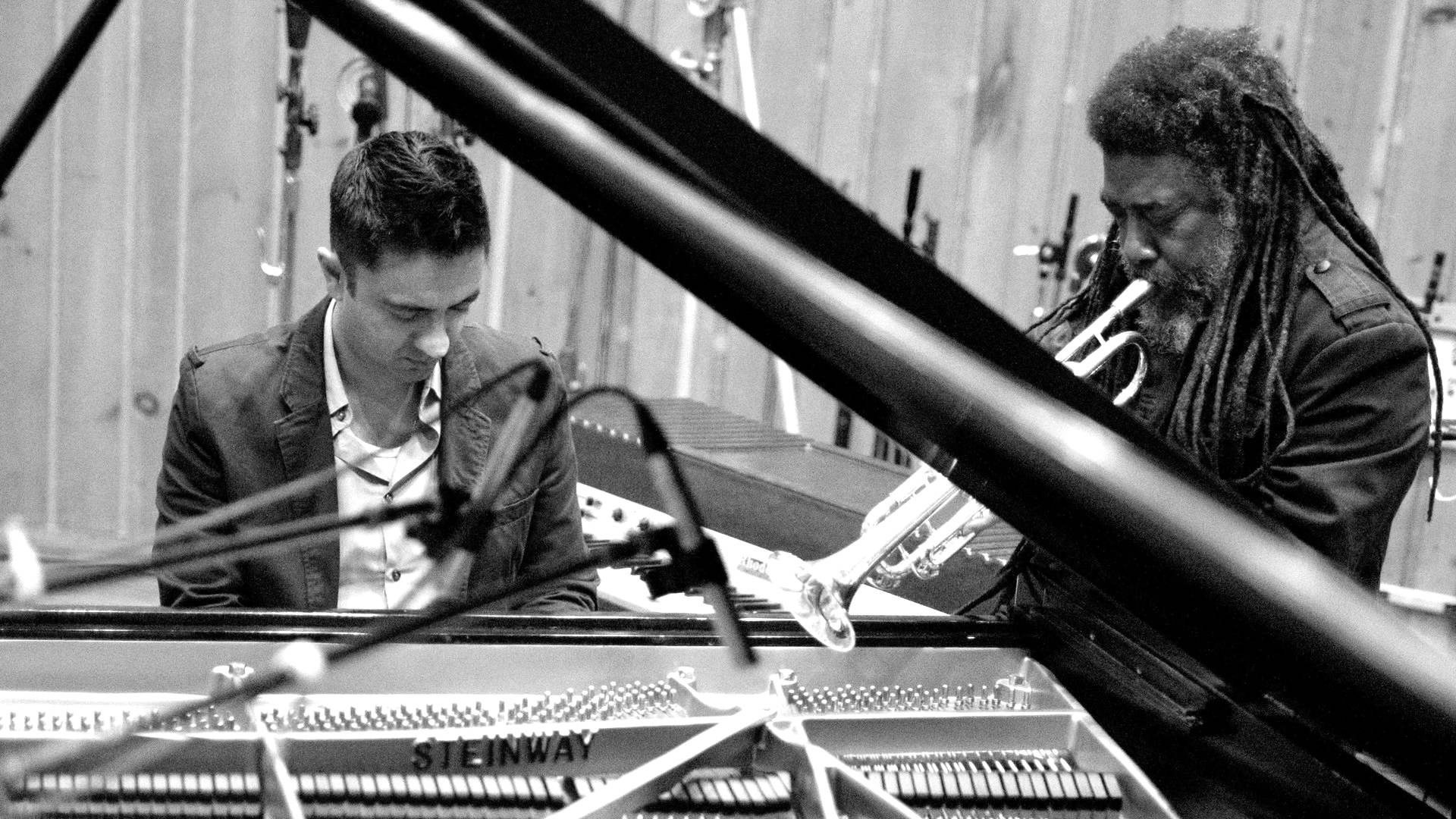 Vijay Iyer & Wadada Leo Smith, recording session for A Cosmic Rhythm with Each Stroke, 2015. Photo by John Rogers.