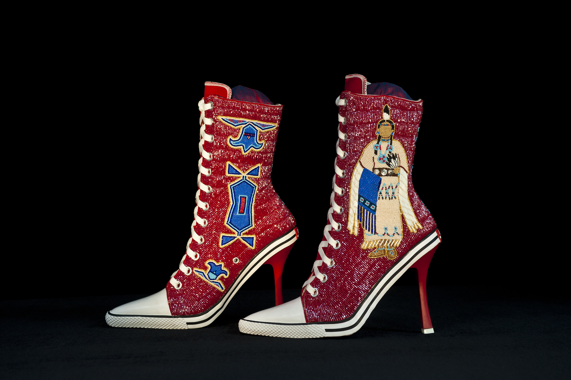 Kiowa By Design, beadwork and mixed media, 2014. Collection of Nerman Museum of Art. Photo credit: Stephen Lang