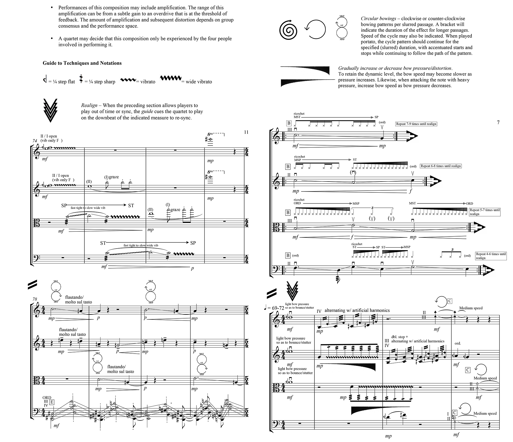 Score excerpt from The Journey Of The Horizontal People, 2016, commissioned for Kronos Quartet.