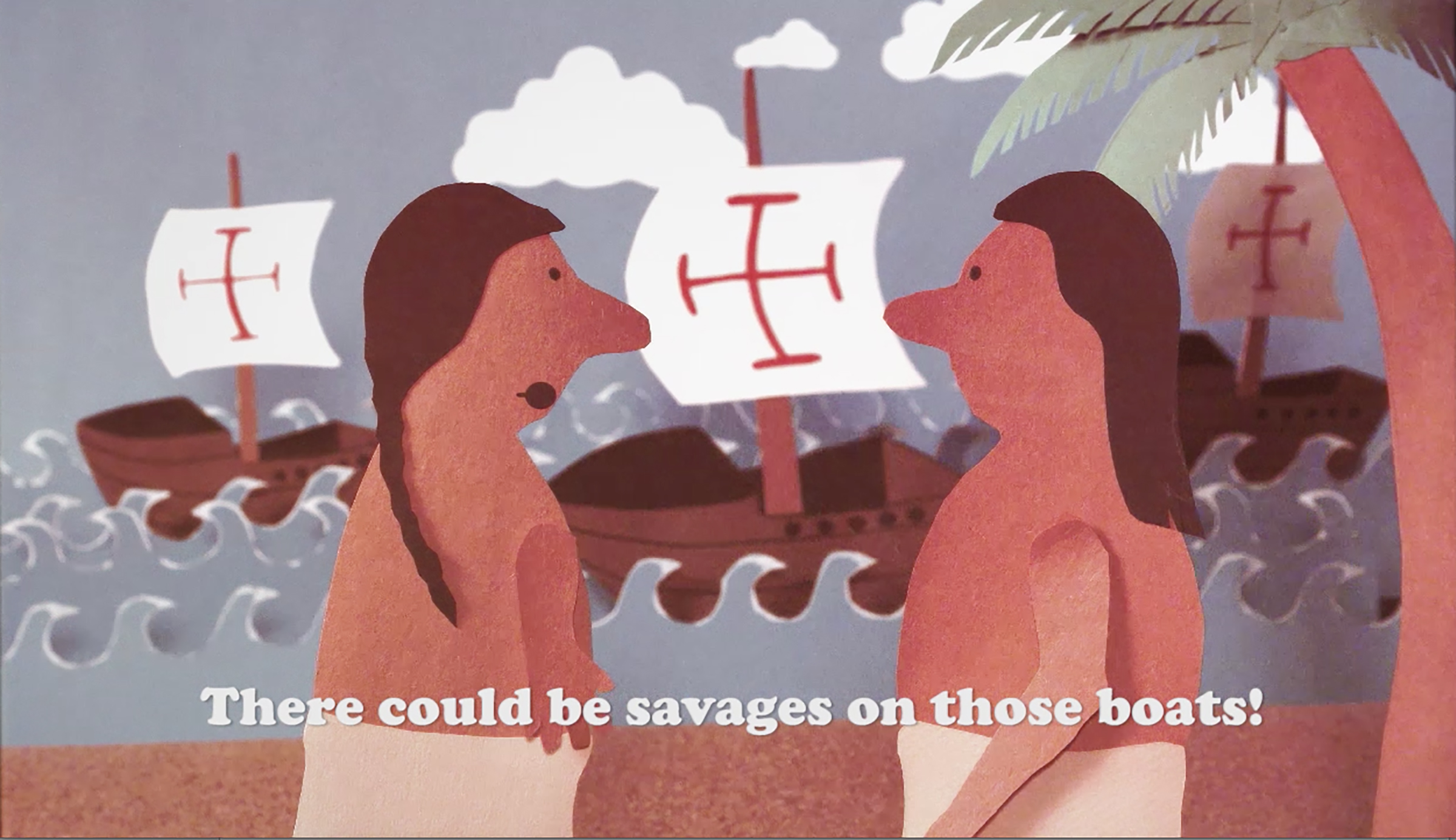 """Screen capture from """"Indian and the Tourist"""", courtesy of the artist"""