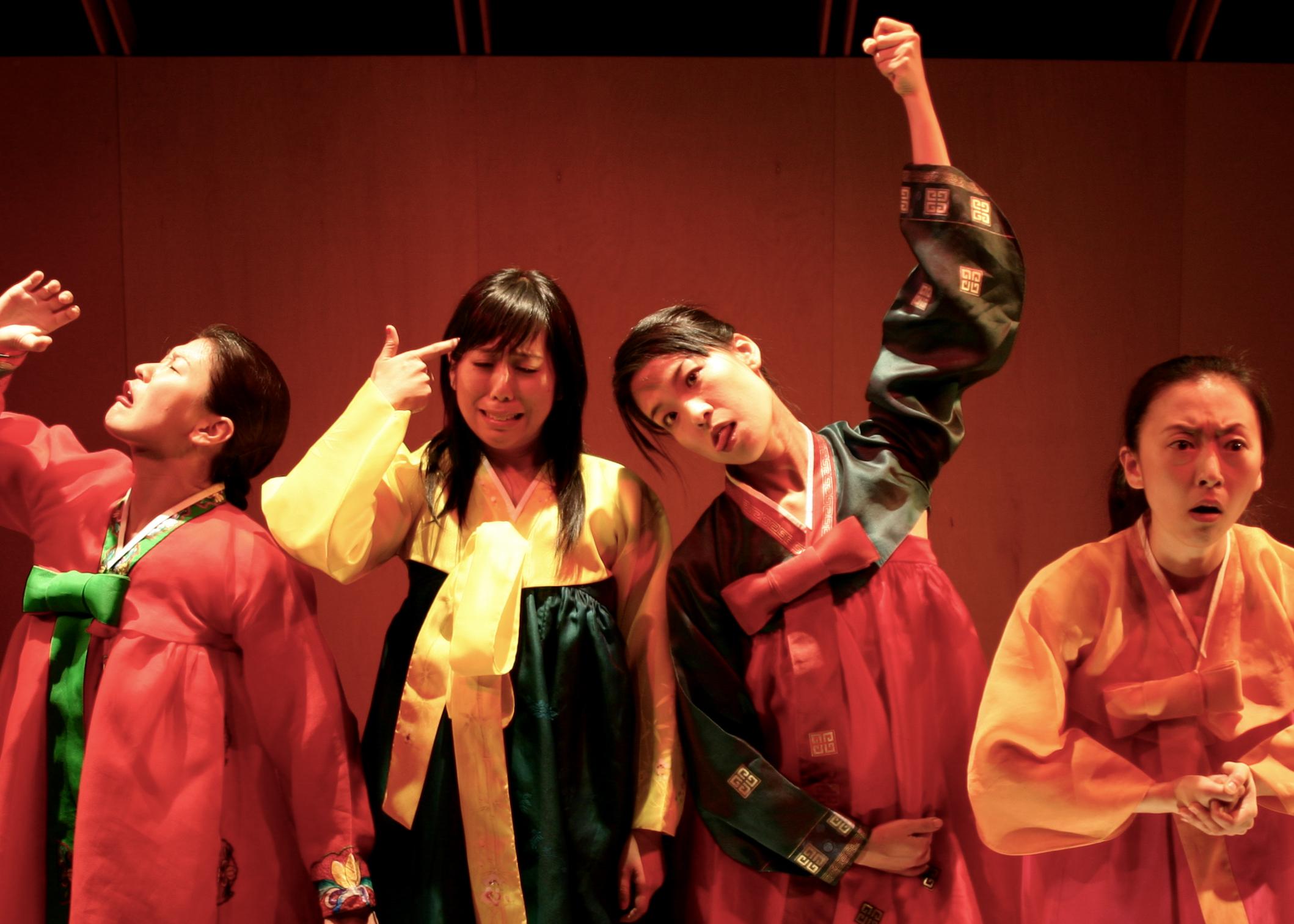 """Songs of the Dragons Flying to Heaven"", HERE Arts Center, New York, NY Jennifer Lim, Becky Yamamoto, Jun Sky Kim, Haerry Kim. Courtesy of Carl Skutch."