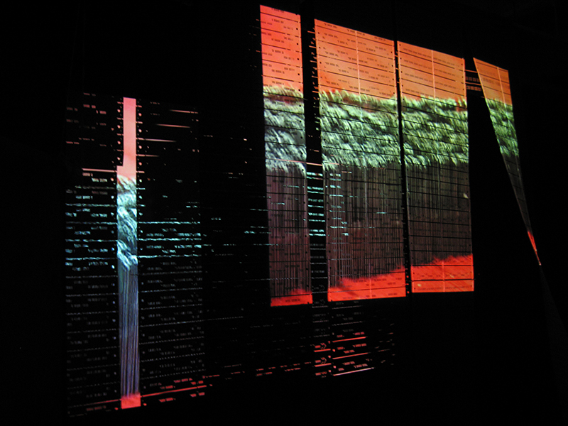 """Warp Trance"", 2007. Three-channel audio video mixed media installation. In Collaboration with The Fabric Workshop and Museum, Philadelphia. Photo by Aaron Igler."