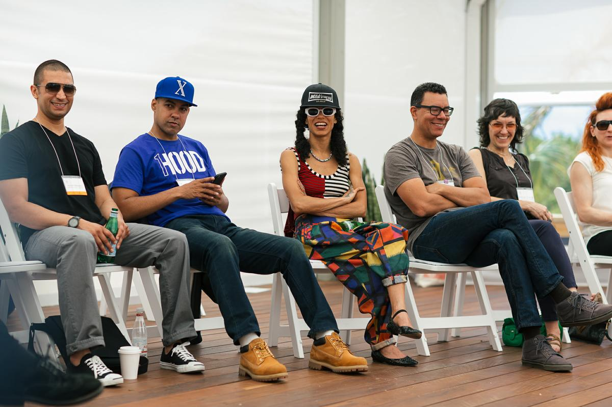 2015 Fellows Adrian Matejka, Jasiri X, Narcissister, Peter Nicks, Deborah Stratom, and Shara Nova at the Fellows alumni meeting