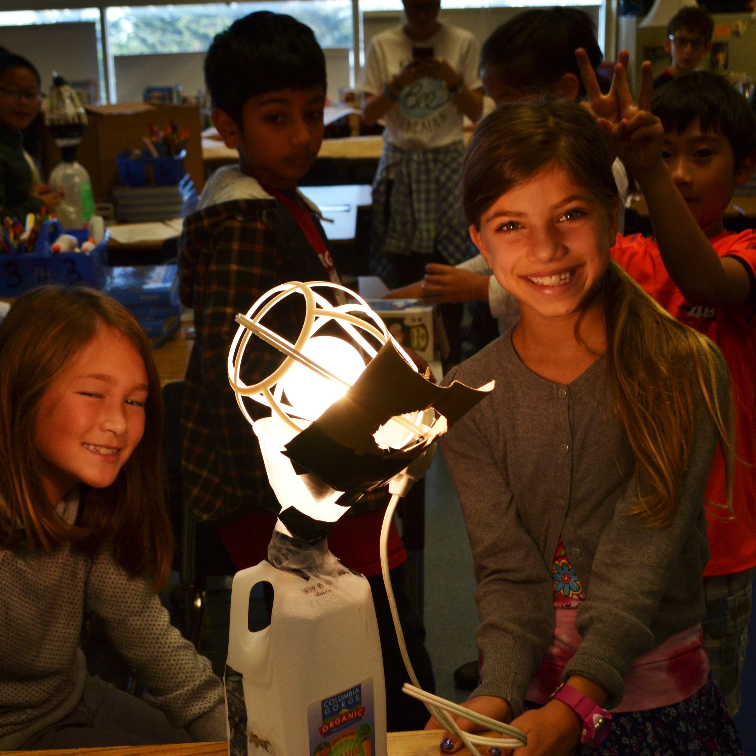Students build light traps to catch ZomBees during our ZomBee Watch lesson