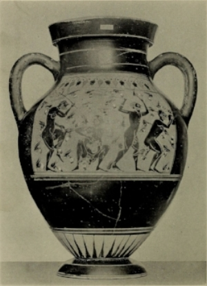 An ancient Greek amphora depicting four men being stung by bees after attempting to steal honey from the hives that nourished the infant Zeus.