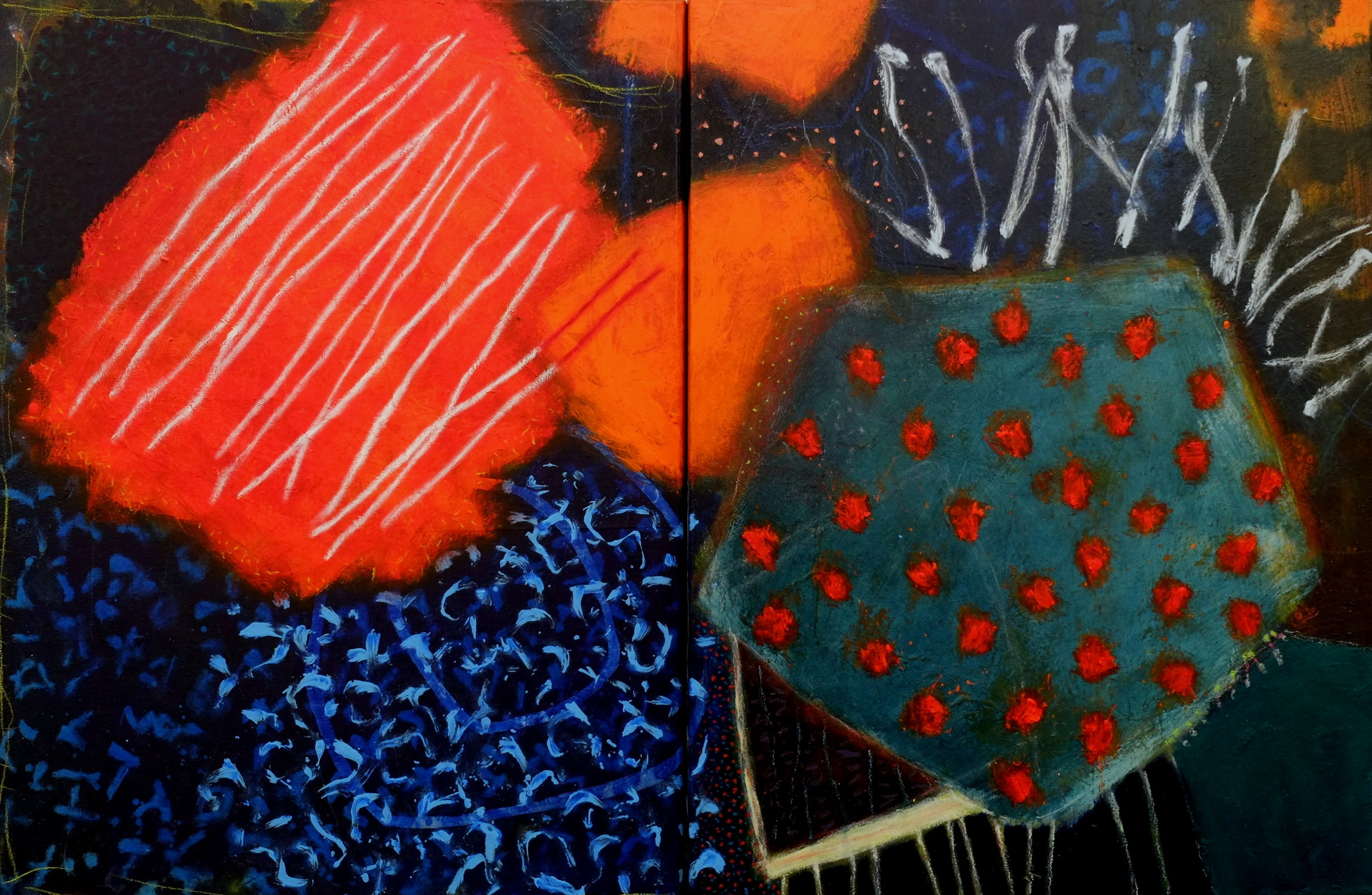 Paradoxical exercises regarding the thinking of stones II  (2014-16; acrylic and mixed media on two canvases)