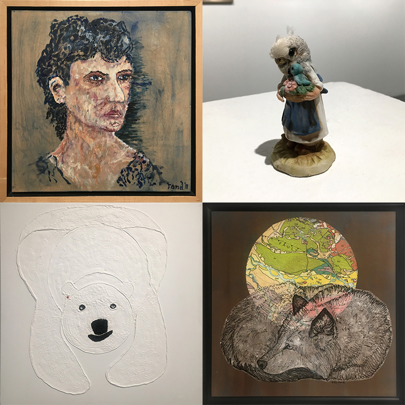 "Images, clockwise from top right: Alex Phillips, ""Little Kitten"", dead bird and ceramic; Kristin Link, ""Sleeping Wolf"", mixed media collage; Ed Hutchinson, ""Zen Bear"", oil on canvas; Randy Simpson, ""Hannah"", oil on canvas."