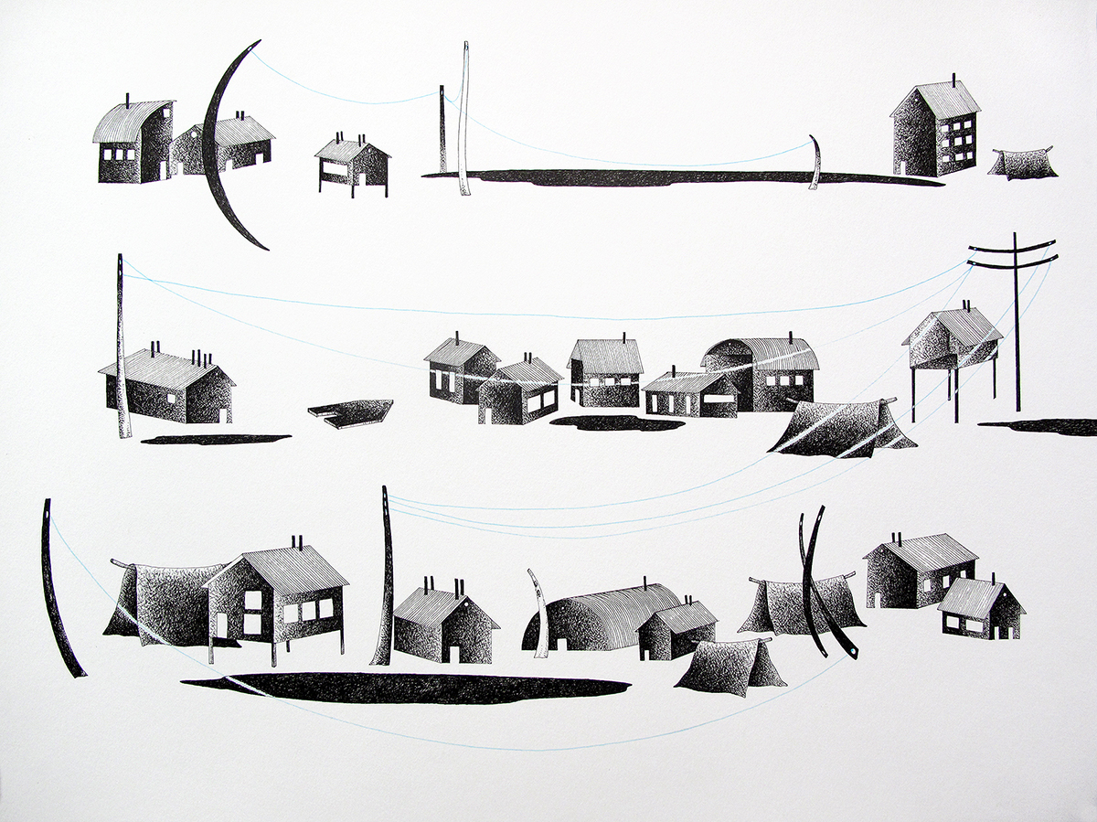 Elizabeth Eero Irving,  Where All Our Friends Live , Ink drawing on paper