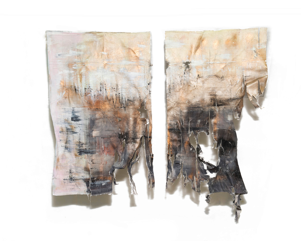 Anna Widman. Combustion IV, Sand, spray paint, ink and acrylic on canvas, 70 x 55 inches