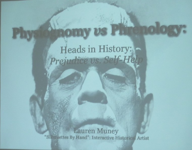 "The introductory slide from the ""Heads in History"" presentation. This example was at a museums conference."