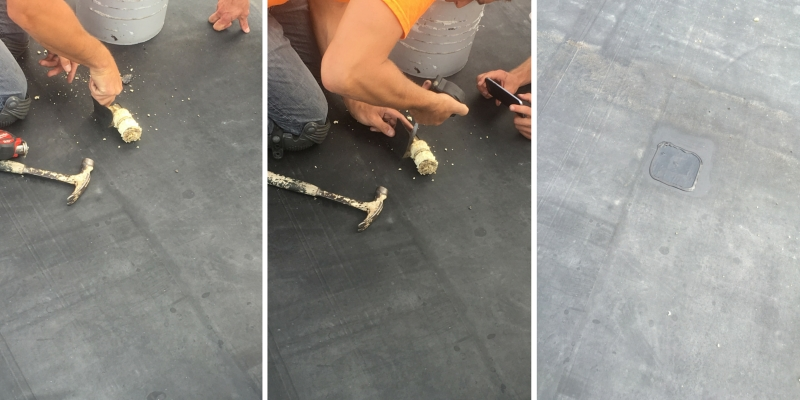 Roof Core Process In Action / Step One - Remove Core, Step Two - Record Core, Step Three - Patch Core.