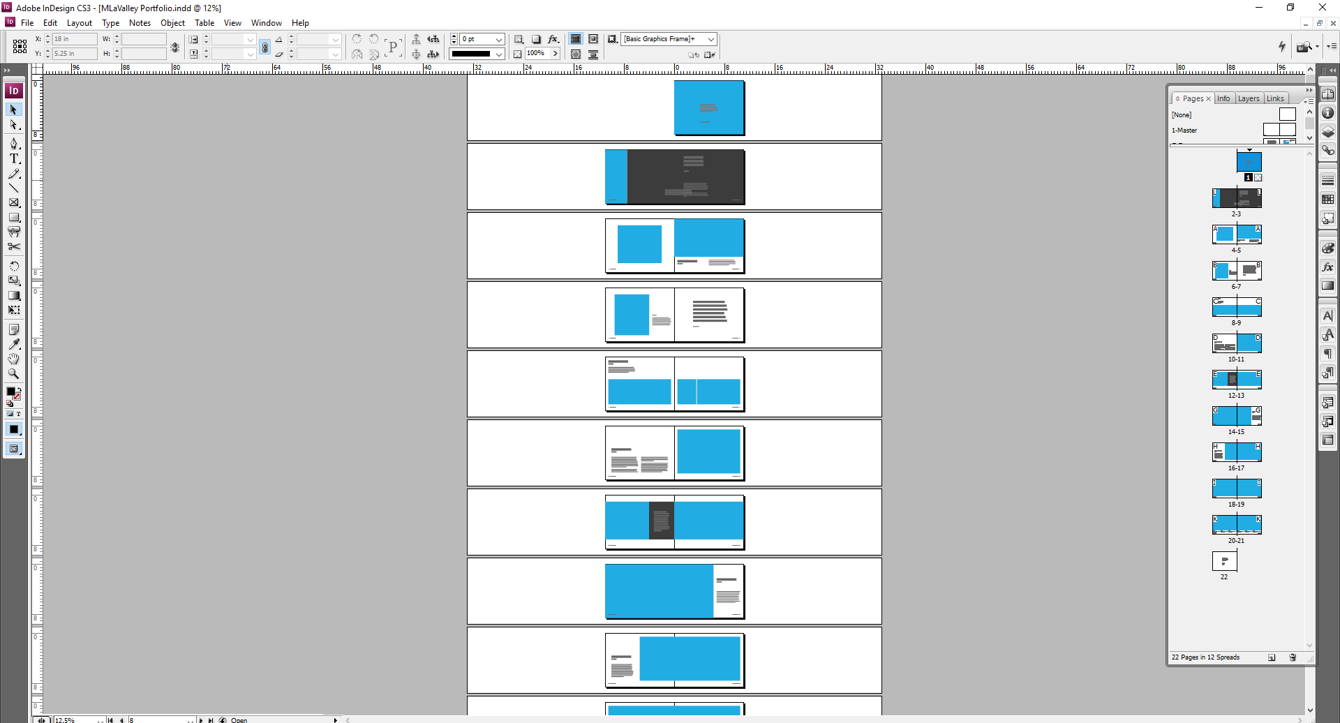 Overall Results   As you can see, once you start getting a few Master Slides going, you can create a variety of combinations of layouts for future use. After a few Spreads have been developed, you can get a better sense of what works and what doesn't. Don't be afraid to get rid of a Master Template or change it up from your sketch.