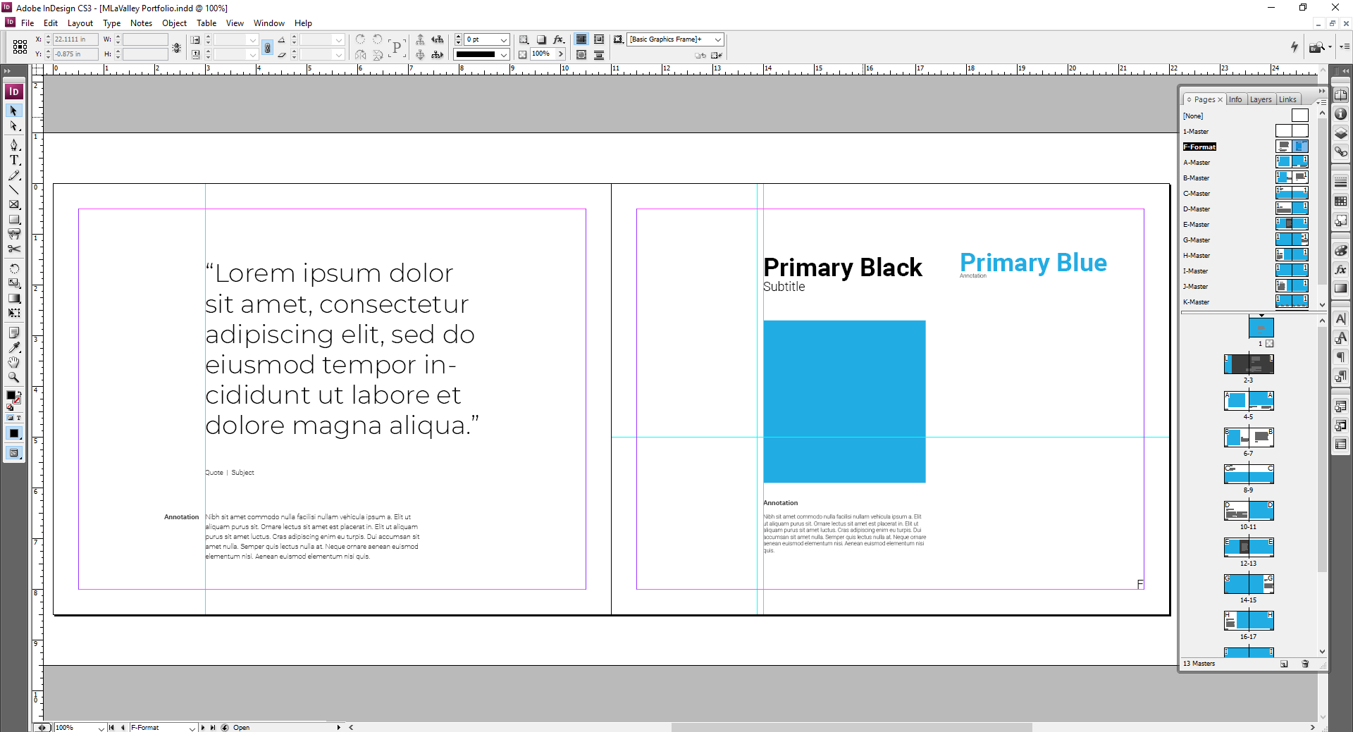 Master Template // Format   Creating a page specifically to test out the text and graphic formatting of your InDesign File will save HUGE amounts of time later.