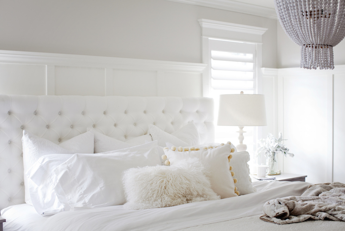 The most calming, all white bedroom by  Jillian Harris .