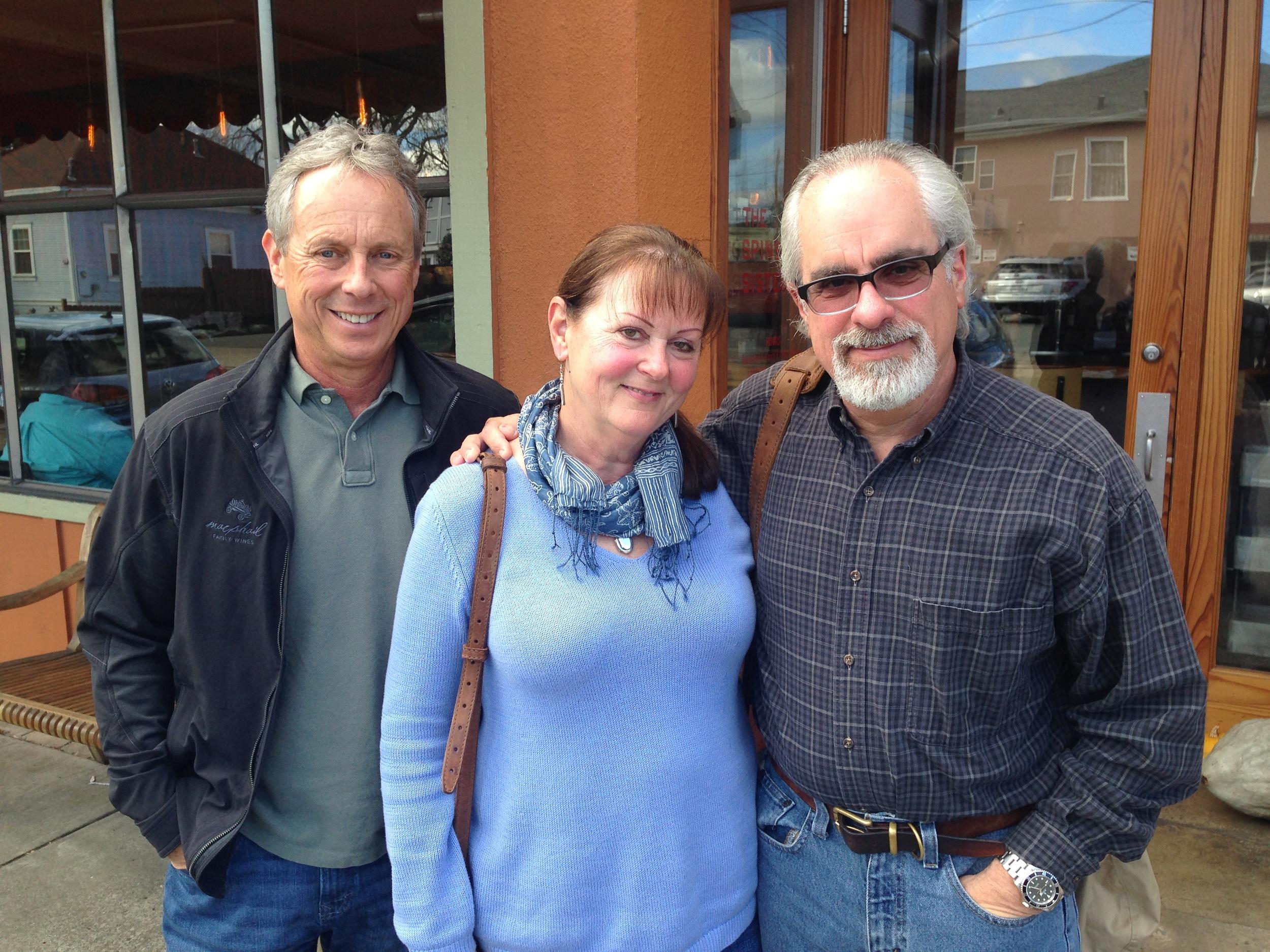 New vineyard manager Jim Pratt, left, with Gantz Family Vineyard owners Celeste and Clay Gantz