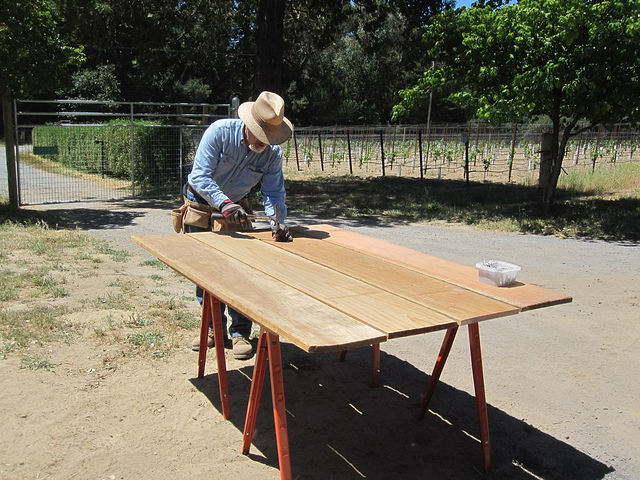 Clay working on the redwood boards