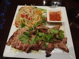 CRYING TIGER – Grilled rib eye steak in a Thai-style marinade on. Served with a succulent cilantro-garlic sauce