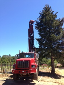 This huge truck hovered off the ground to insure the drill dug a perfectly straight hole 380-feet into the ground. That's longer than a football field.