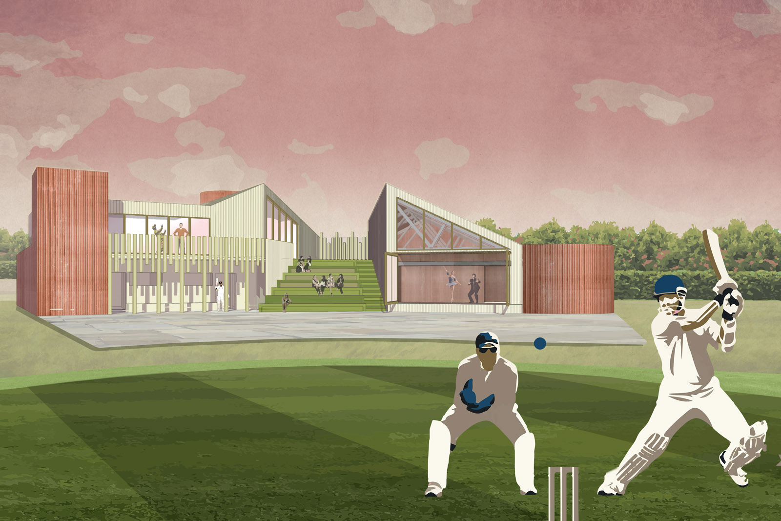 Rear view from the cricket pitch;showing the terrace,tiered seating and large glazed doors to the 'Great Hall'.