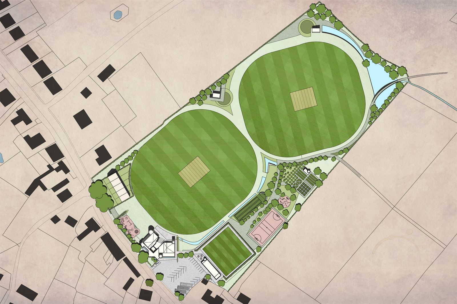 Site plan, showing the 'Community Castle,' cricket pitch and sports facilities and 'moat' landscaping